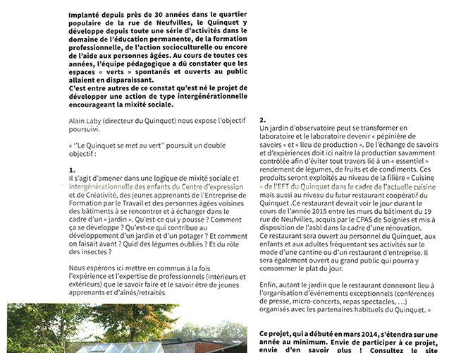Le Quinquet asbl Bulletin Ecolo Soignies 2015