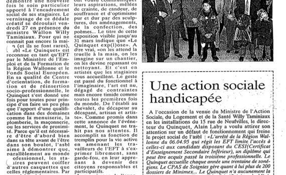 Le Quinquet asbl Nouvelle Gazette, avril 1995