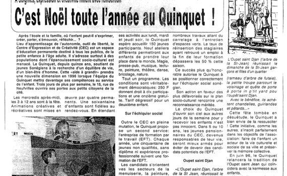 Le Quinquet asbl L'Echo du Centre décembre 1995