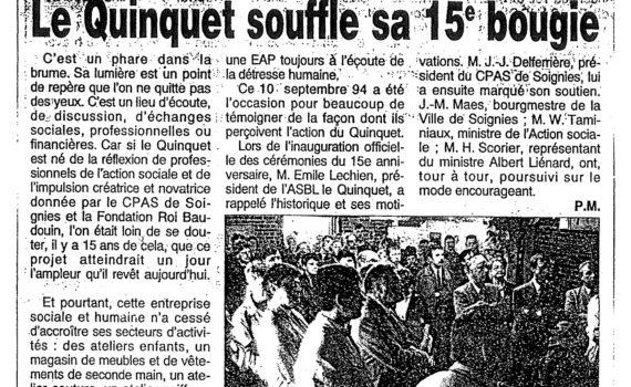 Le Quinquet asbl Nouvelle Gazette septembre 1994