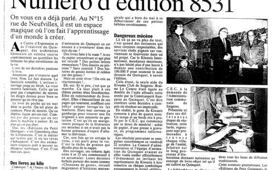 Le quinquet, article de la nouvelle gazette, 28/10/1999