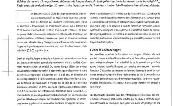 Le Quinquet asbl Dialogue Wallonie juin 2003