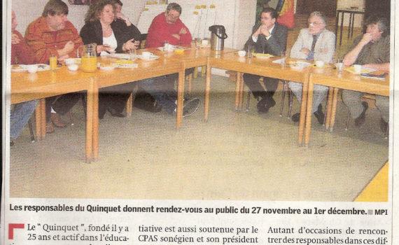 Le Quinquet asbl Nouvelle gazette, novembre 2006