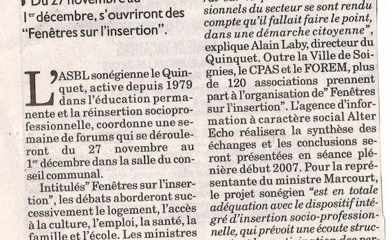 Le Quinquet asbl La Libre novembre 2006