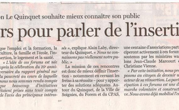 Le Quinquet asbl Le Soir novembre 2006