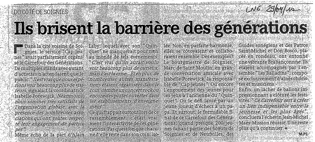 Le quinquet, article de la nouvelle gazette 29 avril 2010